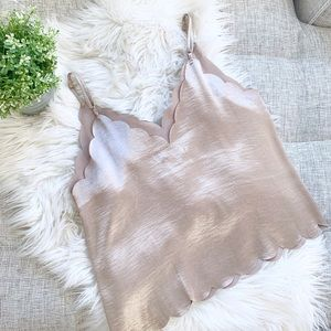 BP. Champagne Colored Scalloped Tank Top | Medium